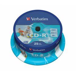CD-R lemez, nyomtatható, matt, ID, AZO, 700MB, 52x, hengeren, VERBATIM