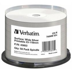 CD-R lemez, nyomtatható ezüst felület, matt, no-ID, AZO, 700MB, 52x, hengeren, VERBATIM