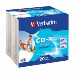 CD-R lemez, nyomtatható, matt, ID, AZO, 700MB, 52x, vékony tok, VERBATIM