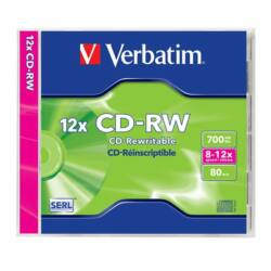 CD-RW lemez, újraírható, SERL, 700MB, 8-12x, normál tok, VERBATIM