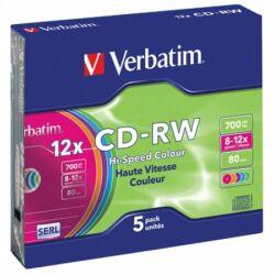 CD-RW lemez, újraírható, színes felület, SERL, 700MB, 8-10x, vékony tok, VERBATIM