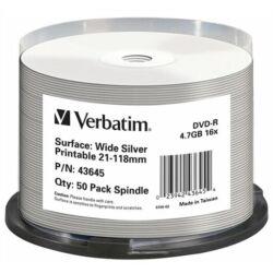 DVD-R lemez, nyomtatható ezüst felület, no-ID, 4,7GB, 16x, hengeren, VERBATIM