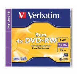 DVD+RW mini lemez, 8 cm, újraírható, 1,4GB, 4x, normál tok, VERBATIM