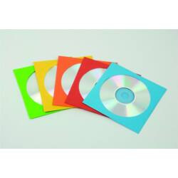 Papír CD/DVD boríték, ablakos, színes, 50 darab