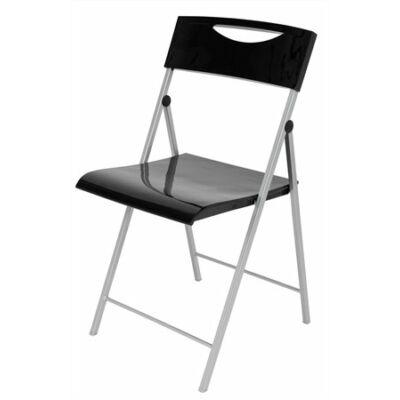 """Összecsukható szék, műanyag, ALBA """"Smile"""", fekete"""