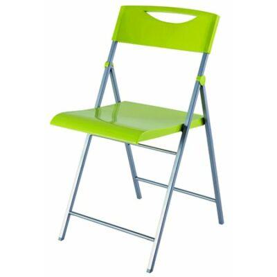 """Összecsukható szék, fém és műanyag, ALBA """"Smile"""" zöld"""