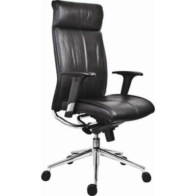 """Főnöki szék, bőrborítás, ezüst színű lábkereszt, """"Chicago 600 Adj"""", fekete"""