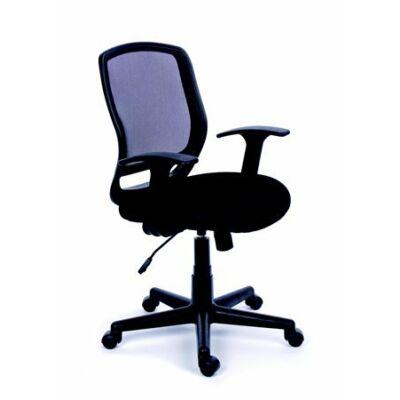"""Irodai szék, karfás, fekete szövetborítás, feszített hálós háttámla, fekete lábkereszt, MAYAH """"Fun"""""""