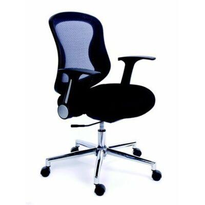 """Irodai szék, karfás, fekete szövetborítás, feszített hálós háttámla, króm lábkereszt, MAYAH """"Spirit"""""""