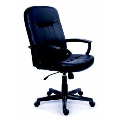 """Főnöki szék, hintamechanikával, fekete bonded bőrborítás, fekete lábkereszt, MAYAH """"Boss"""""""