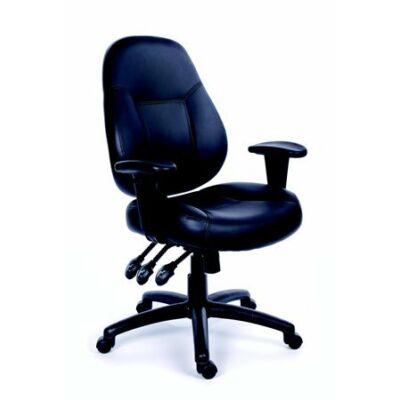 """Irodai szék, állítható karfával, fekete bonded bőrborítás, fekete lábkereszt, MAYAH """"Champion"""""""