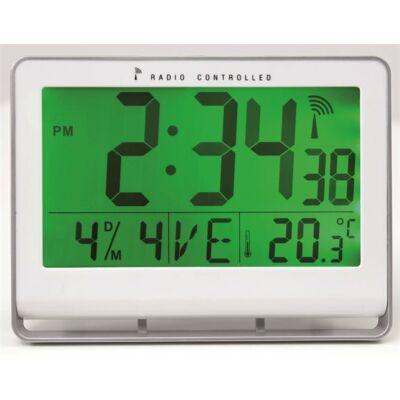 """Falióra, rádióvezérlésű, LCD kijelzős, 22x20 cm, ALBA """"Horlcdnew"""", ezüst"""