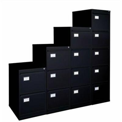 Függőmappatároló fémszekrény, 4 fiókos, , fekete