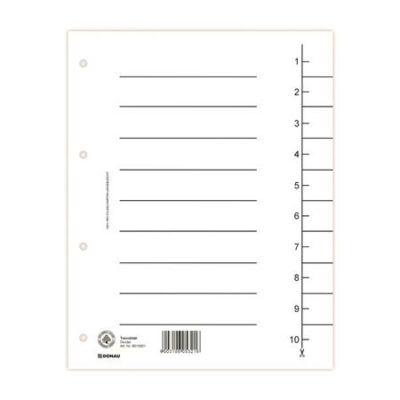 Regiszter, karton, A4, DONAU, fehér 100 darab
