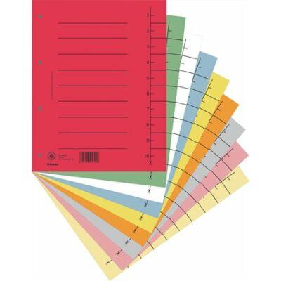 Regiszter, karton, A4, DONAU, vegyes színek 100 darab