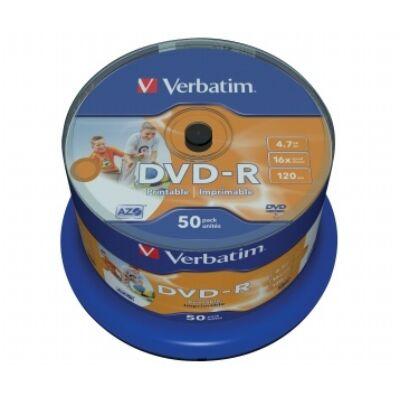 DVD-R lemez, nyomtatható, matt, ID, 4,7GB, 16x, hengeren, VERBATIM