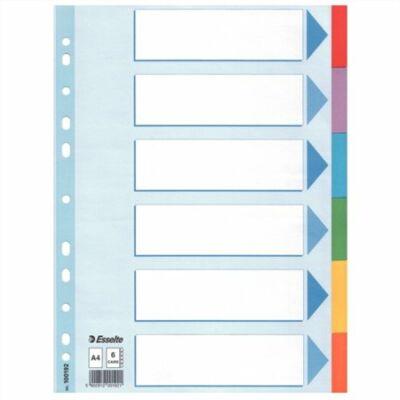 """Regiszter, karton, A4, 6 részes, írható előlappal, ESSELTE """"Standard"""", színes"""