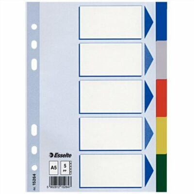 Regiszter, műanyag, A5, 5 részes, ESSELTE, színes