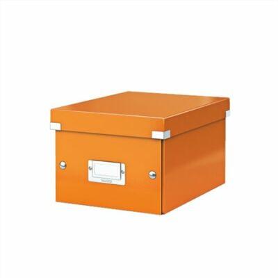"""Irattároló doboz, A5, lakkfényű, LEITZ """"Click&Store"""", narancs"""
