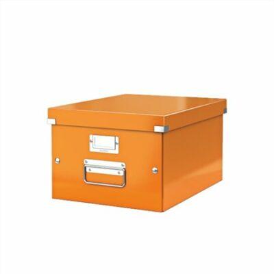 """Irattároló doboz, A4, lakkfényű, LEITZ """"Click&Store"""", narancs"""