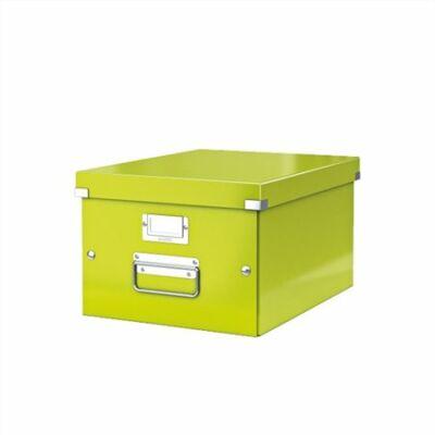 """Irattároló doboz, A4, lakkfényű, LEITZ """"Click&Store"""", zöld"""