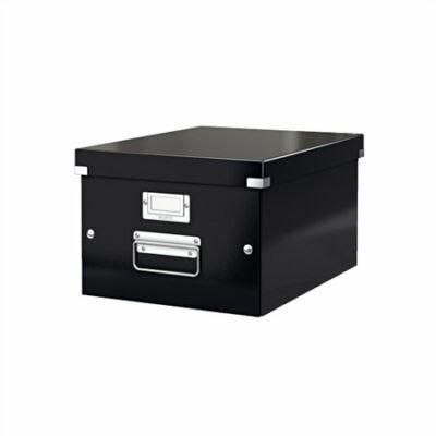 """Irattároló doboz, A4, lakkfényű, LEITZ """"Click&Store"""", fekete"""
