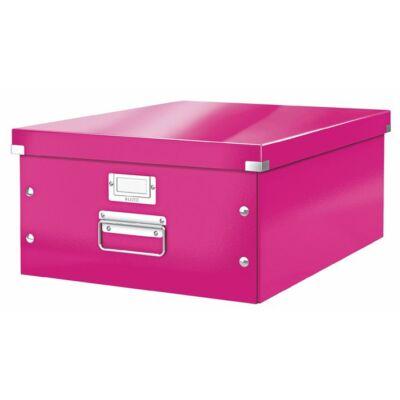 """Irattároló doboz, A3, lakkfényű, LEITZ """"Click&Store"""", rózsaszín"""