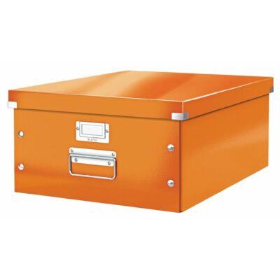 """Irattároló doboz, A3, lakkfényű, LEITZ """"Click&Store"""", narancs"""