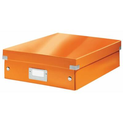 """Tárolódoboz, rendszerező, laminált karton, M méret, LEITZ """"Click&Store"""", narancssárga"""