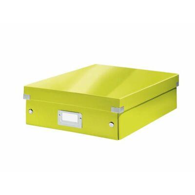 """Tárolódoboz, rendszerező, laminált karton, M méret, LEITZ """"Click&Store"""", zöld"""