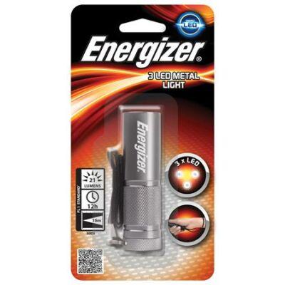 """Elemlámpa, LED, 3xAAA (nem tartozék), fém ház, ENERGIZER """"3 LED Metal"""""""