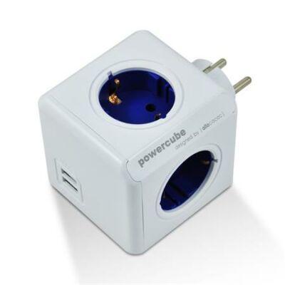 """Elosztó, 4 aljzat, 2 USB csatlakozó, ALLOCACOC """"PowerCube Original USB DE"""", fehér-kék"""
