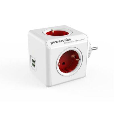 """Elosztó, 4 aljzat, 2 USB csatlakozó, ALLOCACOC """"PowerCube Original USB DE"""", fehér-piros"""
