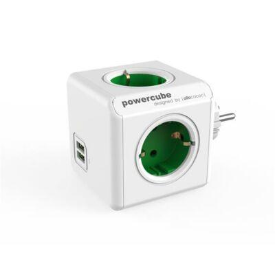 """Elosztó, 4 aljzat, 2 USB csatlakozó, ALLOCACOC """"PowerCube Original USB DE"""", fehér-zöld"""