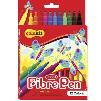 """Filctoll készlet, COLOKIT """"FibrePen"""", 12 különböző szín"""