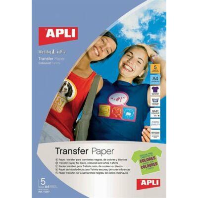 Fólia, vasalható, A4, tintasugaras nyomtatóba, sötét pólóhoz, APLI (5 lap)