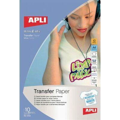 Fólia, vasalható, A4, tintasugaras nyomtatóba, fehér pólóhoz, APLI (10 lap)