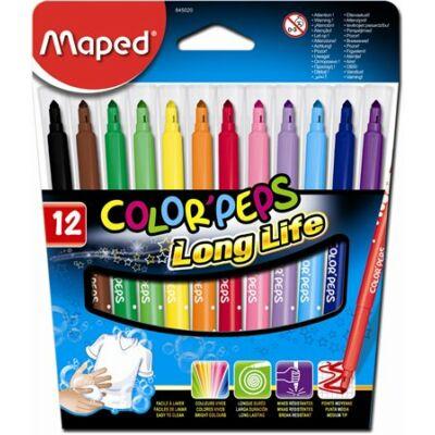 """Filctoll készlet, 1-3,6 mm, kimosható, MAPED """"Color`Peps"""", 12 különböző szín"""