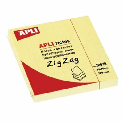 """Öntapadó jegyzettömb, """"Z"""", 75x75 mm, 100 lap, APLI, sárga"""