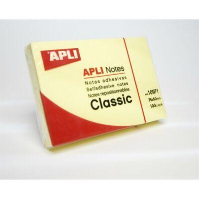 Öntapadó jegyzettömb, 50x75 mm, 100 lap, APLI, sárga