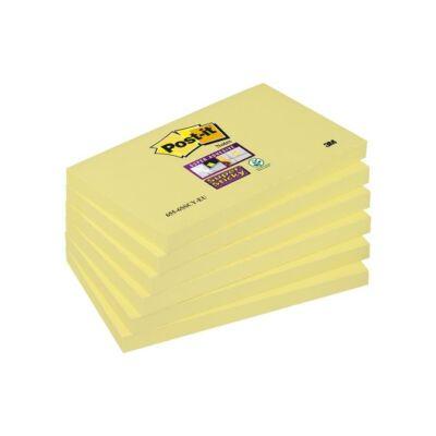 """Öntapadó jegyzettömb csomag, 76x127 mm, 6x90 lap, 3M POSTIT """"Super Sticky"""", kanári sárga"""