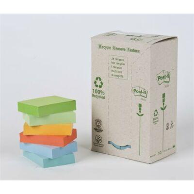 Öntapadó jegyzettömb, 38x51 mm, 24x100 lap, környezetbarát, 3M POSTIT, pasztell
