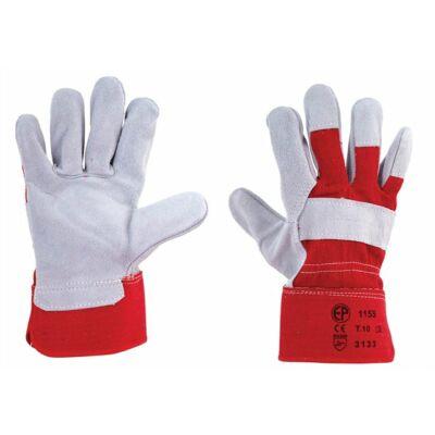 Védőkesztyű, marha hasítékbőr, 10-es méret, szürke/piros ( 12 pár / csomag )