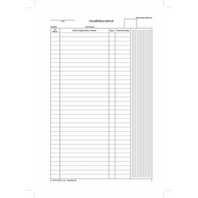 Felmérési napló, 25x5, A4, D.7570-104