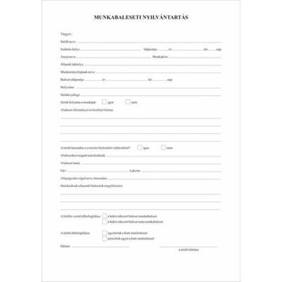 Munkabaleseti nyilvántartó napló, 32 oldal, A4