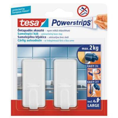 """Műanyag akasztó ragasztócsíkkal, nagy méret, TESA """"Powerstrips®"""", fehér"""