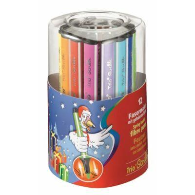 """Filctoll készlet, 1,5-2 mm, rugós hegy, STABILO """"Trio Scribbi"""", 12 különböző szín"""