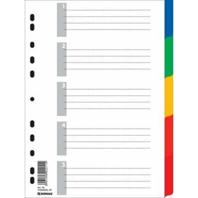 Regiszter, műanyag, A4, 5 részes, színes