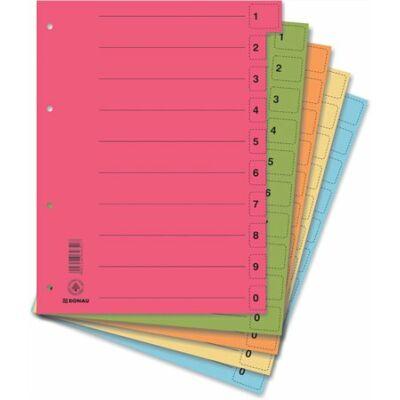 Regiszter, karton, A4, mikroperforált, DONAU, vegyes színek 50 darab