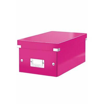 """DVD tároló doboz, lakkfényű, LEITZ """"Click&Store"""", rózsaszín"""